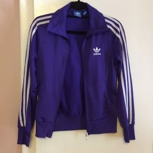 Adidas zip up jacket, w/ tall collar, royal purple